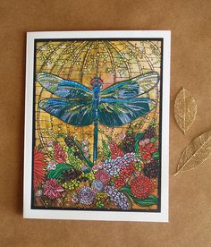 Dragonfly Card. Art Nouveau. Dragonfly Greeting Card.