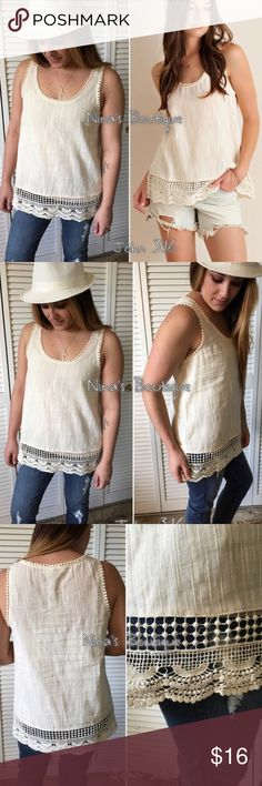 ❗️SALE❗️Sleeveless tops Natural sleeveless tops with crochet detailing - need a cami - #9  ✔️100% polyester ✔️Small bust 17.5' ✔️Medium bust 18.5 ✔️Large bust 19.5 ✔️Length 25.5 Tops