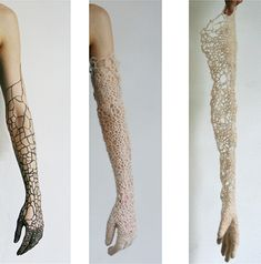 (IN)VISIBLE MEMBRANE by Sonja Bäumel - knit gloves patterned after bacteria colonies native to human skin Crochet Art, Hand Crochet, Do It Yourself Fashion, Textiles, Fashion Details, Fashion Design, Harajuku Fashion, 70s Fashion, Fabric Manipulation