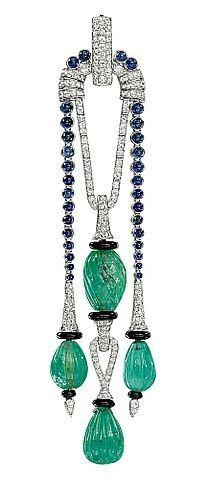 A FINE ART DECO GEM-SET PENDANT, BY CARTIER The central pendant designed as two fluted emerald beads with pavé-set diamond surmount and onyx rondelle detail ...