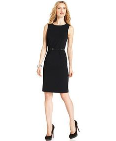 Calvin Klein Petite Dress, Sleeveless Navy Belted Sheath - Womens Petite Suits & Separates - Macy's