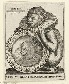 Aap met spiegel, Johann Theodor de Bry, Anonymous, 1596