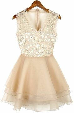 Apricot V-neck Wrap Sleeveless Lace Gauze Back Flare Dress - Sheinside.com