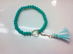 Tassel Bracelet Gold Heart Shaped Charm Teal Beads Teal