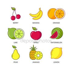 iconswebsite.com icons website Search over +6,500,000 icons , icon set, web icons, logo, business icons, button, people icon, symbol - Organic natural fruit thin line icons set