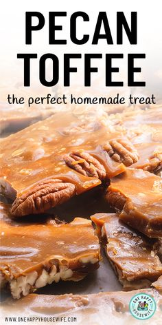 Southern Pecan Toffee A classic holiday candy that's the perfect treat to give family and friends. Pecan Toffee Recipe, Pecan Recipes, Fudge Recipes, Candy Recipes, Sweet Recipes, Holiday Recipes, Almond Toffee, Butter Toffee, Chocolate Toffee