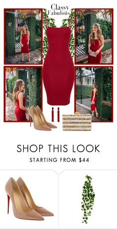 """""""Untitled #1438"""" by gallant81 ❤ liked on Polyvore featuring Christian Louboutin, Edie Parker, Oscar de la Renta and Wyld Home"""