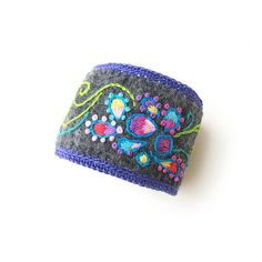 Purple Paisley Cuff on Gray Felt with Crochet Edge by sylviawindhurst, via Flickr