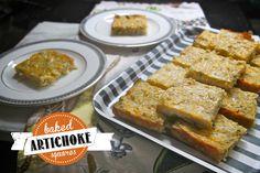 Baked Artichoke Squares makes 16 squares (recipe from my Mom) 2 6oz. jars marinated artichoke hearts 1 medium onion, chopped 1 clove garlic, minced 4 eggs 1