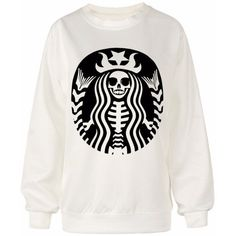 Starbucks skeleton pullover sweater (€39) ❤ liked on Polyvore featuring tops, sweaters, shirts, sweatshirt, blusas, sweater pullover, shirt top, pullover shirt, white top and hooded top