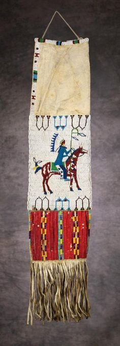 Sioux Beaded & Quilled Pictorial Pipebag, c 1890