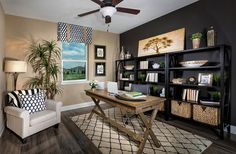 Contemporary and tropical styles meet inside this home office [Design: MP Studio Interiors]