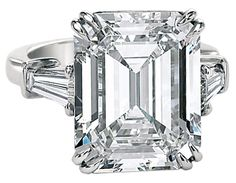 An Important carat Emerald Cut Diamond Ring. An Important Emerald Cut Diamond GIA Cert Ring by David Rosenberg.This handmade Platinum ring is set with a Emerald cut accompanied with a GIA cert # by a matching pair of tapered Baguettes. Via GORGEOUS! Green Diamond Rings, Baguette Diamond Rings, Emerald Cut Rings, Emerald Cut Diamonds, Diamond Cuts, Baguette Ring, Pink Diamonds, Emerald Cut Engagement, Vintage Engagement Rings