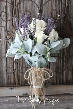 CLEARANCELavender & Roses Wedding Bouquet by TrishBaileydesigns