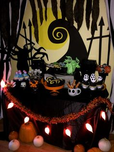 nightmare before christmas birthday party candy cake table crafts by kandie pinterest birthday before christmas and nightmare before christmas