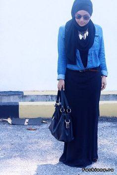 relaxed and casual black maxi skirt outfit #hijab #hijabi #style #fashion