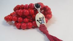 Clearance - Ready to ship 12mm cranberry red wood 108 beads mala with OM bone medallion and macrame cotton tassel - meditation necklace by Sphalie on Etsy