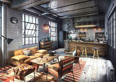 Loft Design, Garage Design, Modern House Design, Casa Loft, Loft House, Industrial Interior Design, Industrial House, Rustic Industrial Decor, Loft Interior