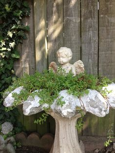Green thumb | Shabby angel birdbath. I have done this many times at christmas…