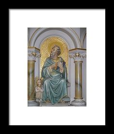 St. Matthew as seen on the pulpit at St. Landry Catholic Church in Opelousas, Louisiana. Photography by Louisiana's Catholic Cajun Creole Artist Seaux N. Seau Soileau. Framed and ready to hang.