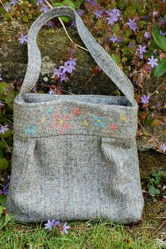 Embroidered Tweed Bag