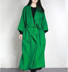Green wool jacket long wool coat winter coat outwear wool cape