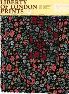Poppy and Daisy. Liberty of London. First designed c. 1924. 1970s reprint in two colorways on silk.