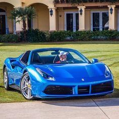 Ferrari 488 Spider painted in Blue Corsa Photo taken by: @farisfetyani on Instagram