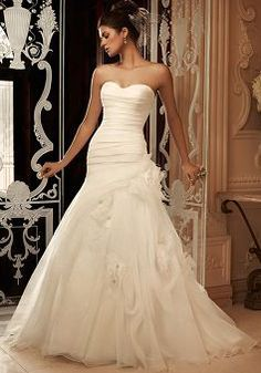 Unique Sweetheart Fit N Flare Organza Asymmetric Waist Floor Length Wedding Dress - 1300103159B - US$219.99 - BellasDress