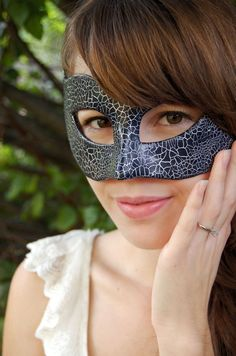 Blue Masquerade Mask with Silver Crackle by AnotherFaceStudio, $32.00