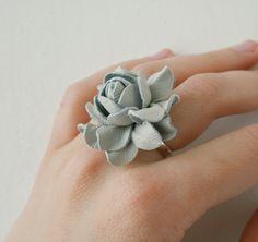 Light grey rose flower leather ring, $10.00