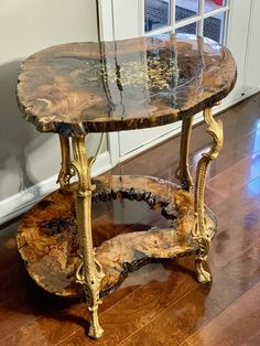 Live Edge Slab Mesquite Epoxy Resin Gold Leaf Iron Golden Legs Side Table handma… – Ideas for the house – New Epoxy