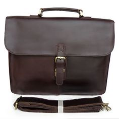 "Vintage Handmade Leather Briefcase / Messenger / 15"" Macbook 14"" Laptop Bag"