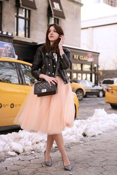 Pairing tulle with a leather jacket—or even fur—creates a casual-chic look with contrasting textures. #Winter #Fashion