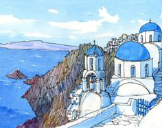 Santorini Oia Greece art print from an original watercolour painting Pen And Watercolor, Watercolor Landscape, Watercolor Illustration, Watercolour Painting, Painting & Drawing, Greece Drawing, Greece Painting, Greece Art, Oia Greece
