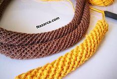 Bu senin trendi haline gelen örgü çantalar için sap yapımı ile ilgili sizlere yardımcı olabilecek bir kaynak oluşturmak istedim. Crochet I Cord, Bracelet Crochet, Crochet Tote, Crochet Purses, Knit Crochet, Crochet Stitches Patterns, Crochet Designs, Cordon Crochet, Crochet Handles