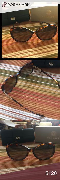 Authentic Versace Sunglasses These are gorgeous, they do have some wearing inside of the nose but it is not noticeable while wearing. I will include pictures of this. It comes with box and case! I do have a receipt for authenticity as well. Versace Accessories Sunglasses