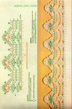 Crochet Edgings Design Lace Edging Crochet Patterns Part 13 - Crochet Boarders, Crochet Lace Edging, Crochet Blocks, Granny Square Crochet Pattern, Crochet Diagram, Crochet Chart, Diy Crochet, Vintage Crochet, Filet Crochet