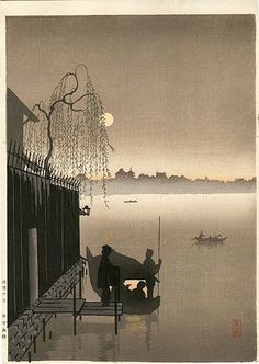 Eijiro Koyobashi, Evening Cool on the Sumida River Print size is approximately 7 1/2 inches by 10 inches