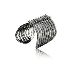 Rodium-plated Sterling Silver Ribcage Bangle | shopthemag.com ($1,425) ❤ liked on Polyvore