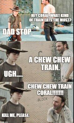 Page 2 of 160 - The Walking Dead Memes that live on after the characters and season ended. Memes are the REAL zombies of the show. Walking Dead Funny, Walking Dad Jokes, Walking Dead Coral, Carl The Walking Dead, Kermit, Twd Memes, Luther, Funny Jokes, Kid Jokes