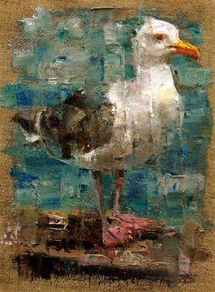 "Daily Paintworks - ""Meet Mr. Gull"" - Original Fine Art for Sale - © Julie Ford Oliver"