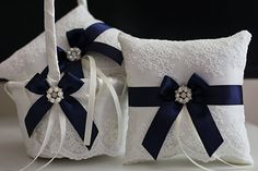 Navy Blue Flower Girl Baskets + Navy Blue Wedding Pillow \ Navy Wedding Baskets \ Navy Ring Bearer Pillow with Lace \ Lace Petals Baskets