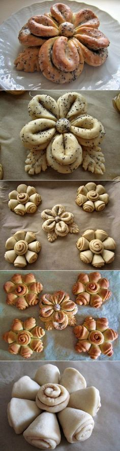 Floral Wonders of drozhevogo test: Baking sweet Bread Recipes, Cooking Recipes, Pan Relleno, Bread Shaping, Bread Art, Bread And Pastries, Food Decoration, Sweet Bread, Creative Food