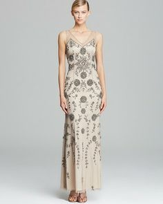 Adrianna Papell Double V Neck Beaded Gown - Sleeveless on shopstyle.com