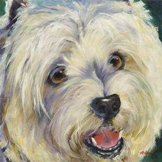 """Mr Happy"" - Westie, 30 x 30  original art in oil and acrylic www.DebbieRichmondArt.com"