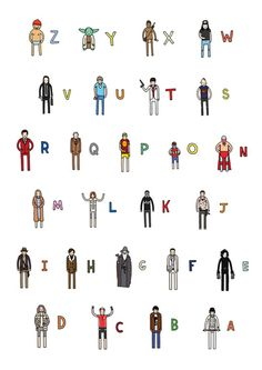 Z-A, movie characters alphabet by Jaco Haasbroek. Can you identify more? I will add as people comment! Z = Steve Zissou, Y = Yoda, X = Xi (The Gods Must Be Crazy), W = Wayne (Wayne's World), V = Vincent Vega (Pulp Fiction), U = Uncle Rico (Napoleon Dynamite), T = Tony Montana (Scarface), S = Sloth (The Goonies), R = Ron Burgundy (Anchorman), P = Paulie Bleeker (Juno), N = Nacho Libre, M = Margot Tenenbaum (The Royal Tenenbaums), L = Leeloo (The Fifth Element), K = Kevin (Sin City), J = John…