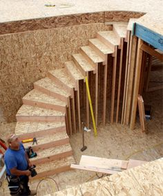 Garage Stairs - Something interesting? - The Garage Journal Board Garage Stairs, Deck Stairs, Attic Stairs, House Stairs, Curved Staircase, Staircase Design, Building Stairs, Building A House, Stairways
