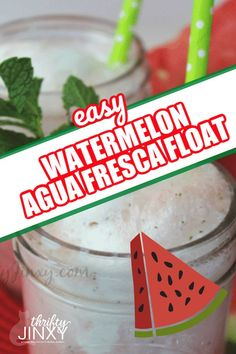 This Watermelon Agua Fresca Float Recipe is a delicious frozen treat on a summer day.  Only 5 ingredients are needed! #watermelon #frozendessert #aguafresco #watermelonrecipe Drinks Alcohol Recipes, Punch Recipes, Non Alcoholic Drinks, Cocktail Recipes, Drink Recipes, Beverages, Breakfast Casserole Easy, Watermelon Recipes, Vegetarian Options