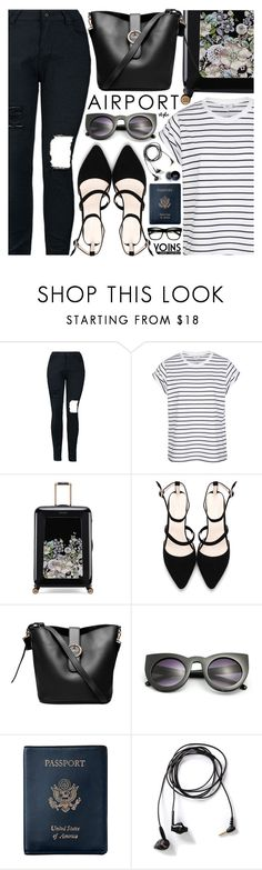 """Airport Style #Yoins"" by pastelneon ❤ liked on Polyvore featuring Ted Baker, Royce Leather and Yurbuds"